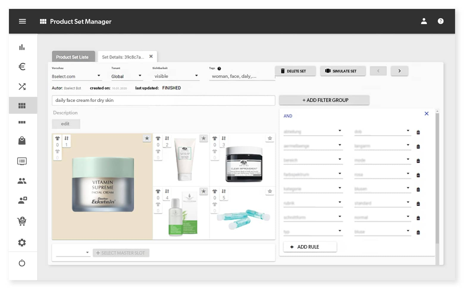 Generate dynamic sets of complementary products (e.g. in the fashion industry: outfits, accessory sets) and define touchpoints for them. Set recommendations enable you to achieve high-performance cross-selling.